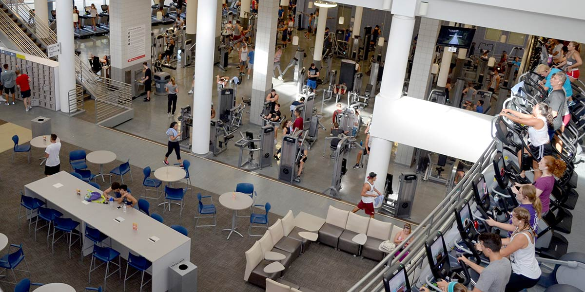 Photo of students exercising in the Leach Atrium